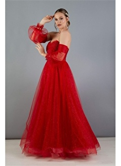 Carmen Carmen Kırmızı Tüllü Düşük Kol Nişanlık Abiye Elbise